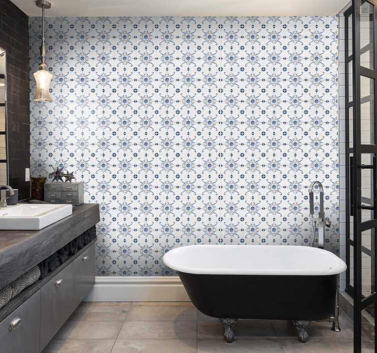 TenStickers. Tile Effect Wallpaper. Is there anything better than this tile wallpaper? Bathroom wallpaper is a perfect solution for your interiors due to the high quality of material.