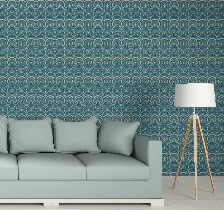 TenStickers. Vintage art decò wallpaper. Decorate your living room in an unusual, vintage way. This art deco wallpaper is such a great idea to make your interiors look stunning and great.