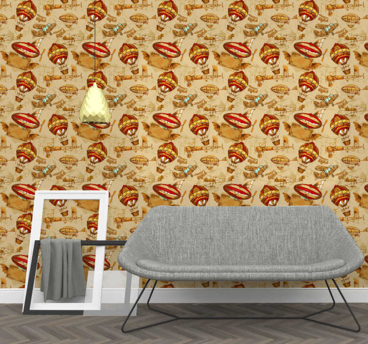 TenStickers. Dining Room Vintage Wallpaper. It is the time to begin the travel of your life with those vintage wallpapers. You can see flying baloons, old planes and other machines.