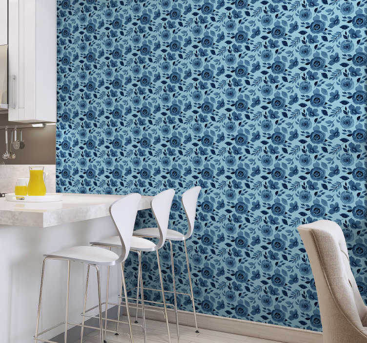 TenStickers. Nature Wallpaper blue flowers. If you like flowers and you love a blue colour, we have something perfect for you Vinyl wallpaper for kitchen that will make this room stunning.