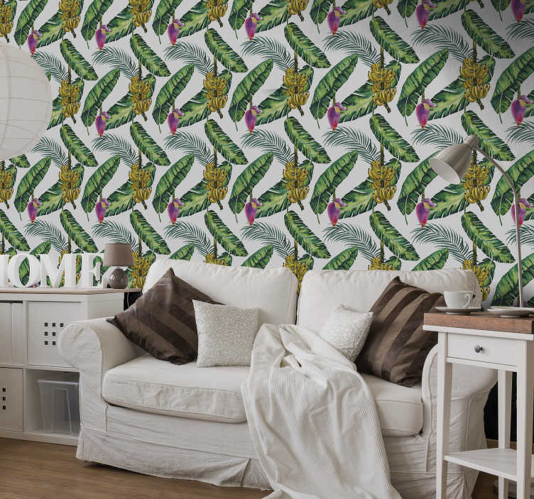 TenStickers. Forest Wallpaper BananaLeaves. Look at this nature wallpaper, it looks so great that you will almost feel like you are in the jungle full of exotic plants, bananas and way more.