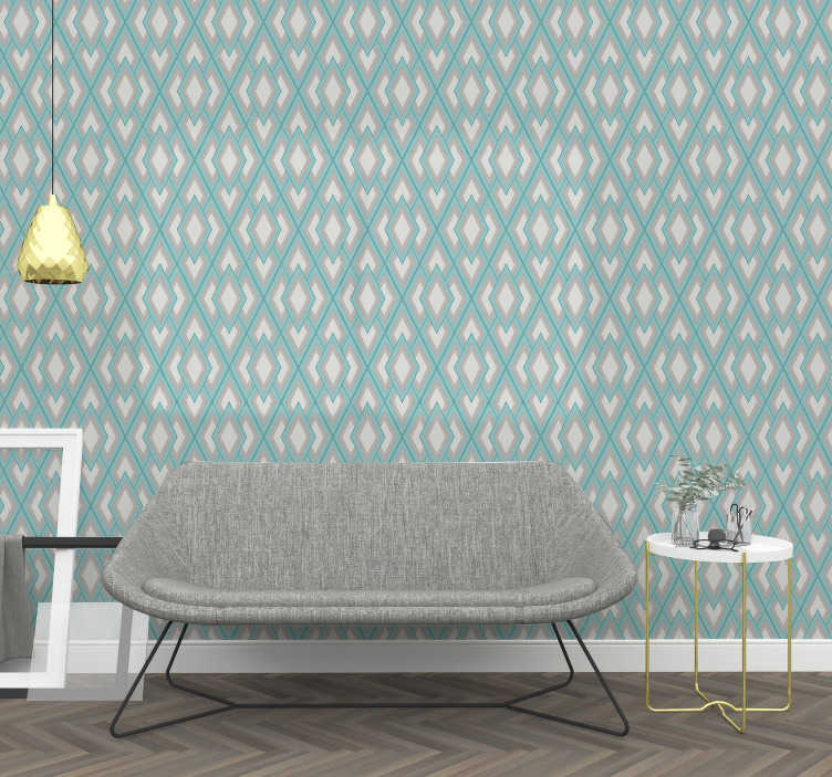 TenStickers. Triangle Wallpaper with geometric patterns. Squares, diamonds, triangles, all of those geometric figures you can find on this vinyl wallpaper. Add a bit of shape in your home.