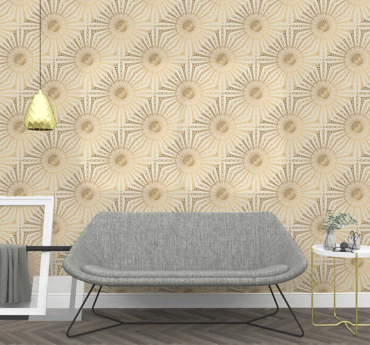 TenStickers. Wallpaper Golden Motifs texture. Sometimes, all we need in our lives is a little bit of change. How about redecorating your living room with that stunning bright wallpaper?