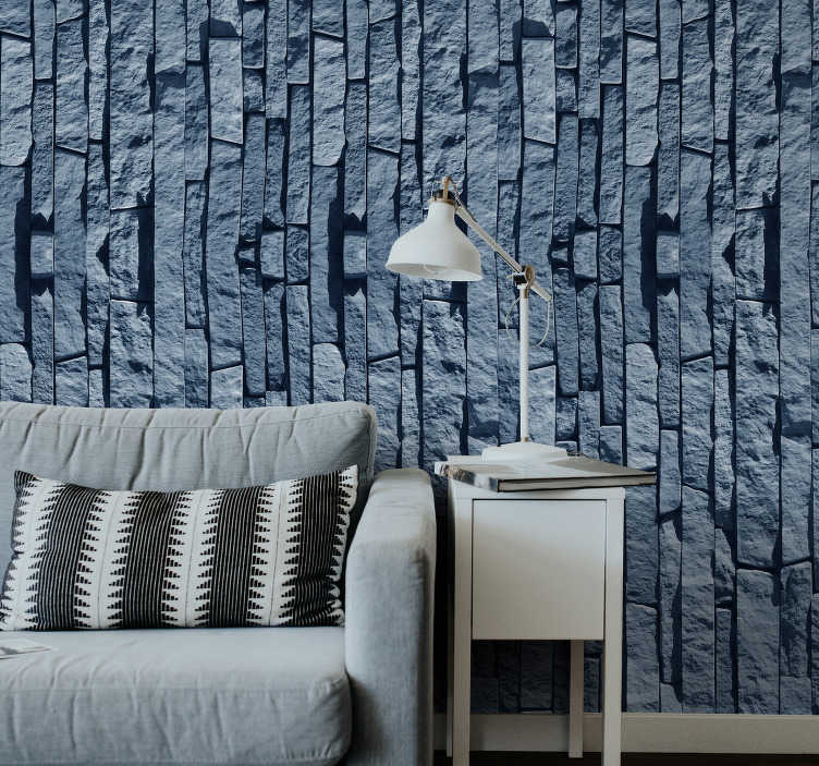 TenStickers. carta parati con texture  blu finta pietra. Questa carta da parati in pietra è una delle cose migliori che puoi acquistare per ridipingere il tuo appartamento in modo economico ed efficace. Fiducia nel materiale di alta qualità.
