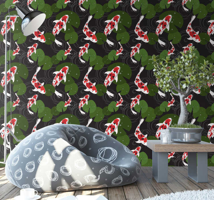TenStickers. Living Room Wallpaper oriental carps. Order this animal wallpaper with unusual design of fish swimming around the beautiful lake full of leaves. Best possible quality.