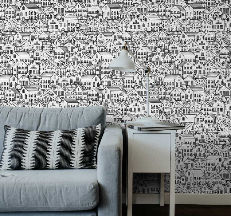 TenStickers. Living Room Wallpaper City motifs. This amazing white patttern wallpaper is a classic decoration that shows the design of many different building that create a beauiful mozaic.