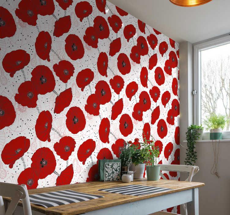 TenStickers. Natuur behang rode bloemen en tekeningen. Natuurbehang is een van de beste manieren om uw kamers lichter en gelukkiger te maken. Bestel dit hoogwaardige product via onze website!