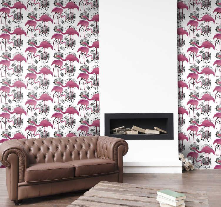 TenVinilo. Papel pared animal flamencos vintage. El papel pintado para dormitorio con flamencos y un patrón de fondo blanco es una manera perfecta de redecorar su casa ¡Producto de alta calidad!