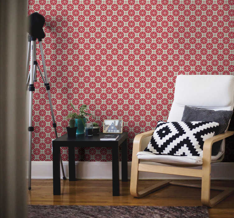 TenStickers. Ornamental Wallpaper floral geometric motifs. The design of this ornamental wallpaper is showing a patern of red flowers gathered around in amazing shapes. High quality material!