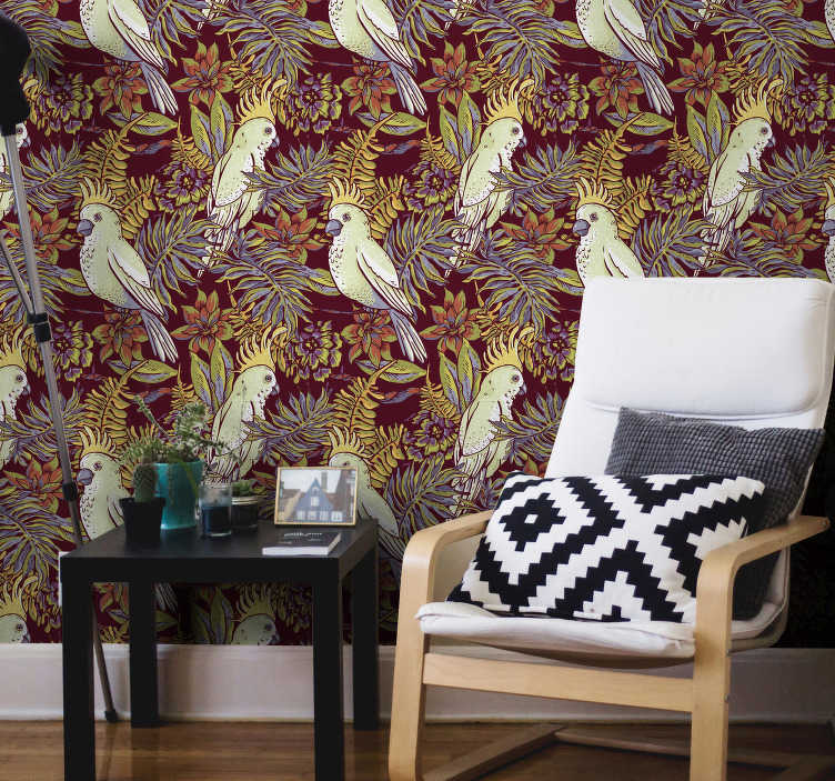 TenStickers. Living Room Wallpaper floral parrot. This high quality wallpaper is perfect for your living room, kitchen or a dining room. Order it now and forget about dull white walls.