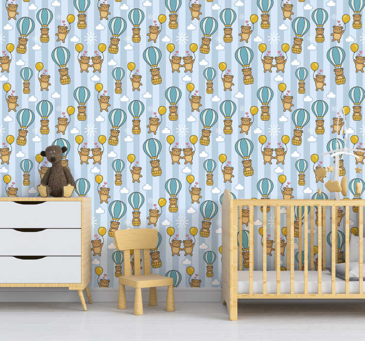 TenStickers. Wallpaper Flying animals for children. The design of this kids bedroom wallpaper shows plenty of cute bears floating with baloons in their hands. You can also see some clouds and hearts.