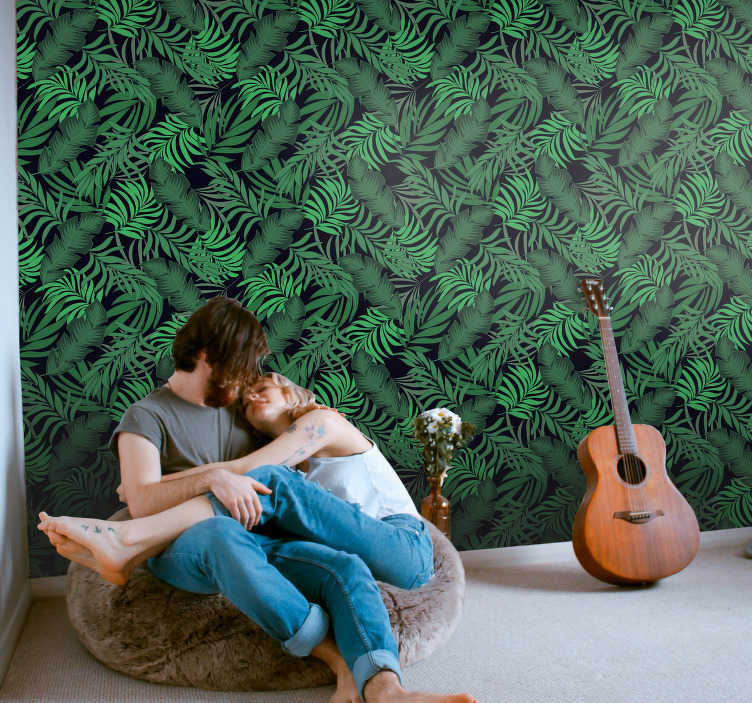 TenStickers. Forest Wallpaper Keys in the jungle. Order this green wallpaper with leaves of the jungle to bring some nature to your home and to create a peacful sanctuary.