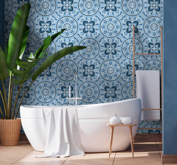 TenStickers. Bathroom Wallpaper Mandala style. Define the style of your bathroom with this ornamental wallpaper with blue and white mandala pattern. High quality of the product.