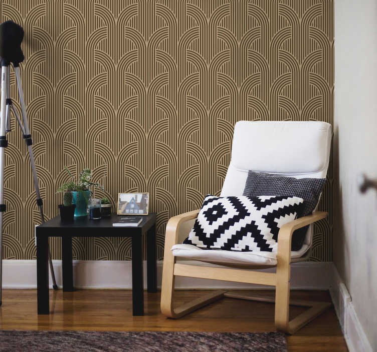 TenStickers. Wallpaper modern decorations. Decorate your living room with this modern wallpaper with a design of elegant black lines on the brown background. Cheap and quick transformation!