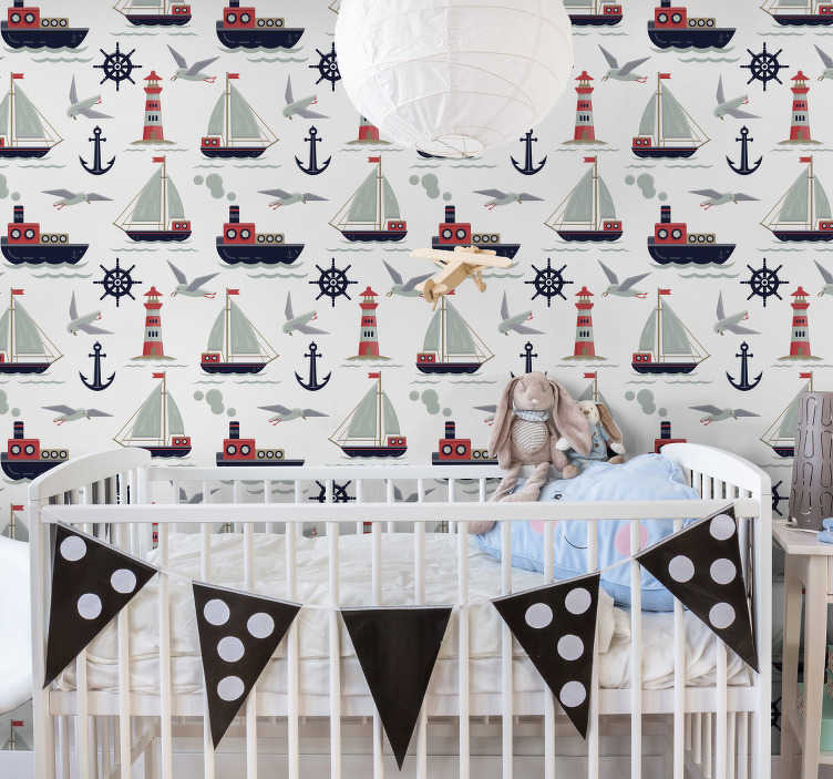 TenStickers. Childrens wallpapee Navy motifs. This project of kids wallpaper is showing many boats, anchors and other elements typical for a navy motif. Easy to remove without any stains.