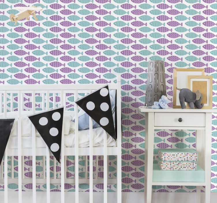 TenStickers. Childrens Wallpaper nordic style fish. Redecorate your house with bedroom wallpaper that is full of cute fish swimming around in realy beautiful colours. High quality material!