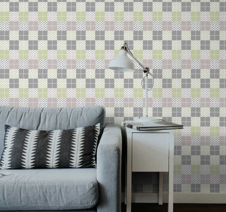 TenStickers. Pattern wallpaper nordic style squares. This living room wallpaper with squares might be yours. All you need to do is to choose the size you need and order it now online!