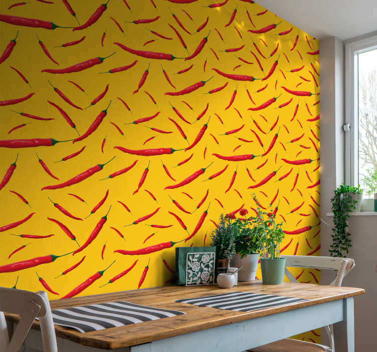 TenStickers. Kitchen wallpaper peppers. This vinyl wallpaper with the design of cute red peppers will inspire you to cook amazing dishes, did someone say curry?