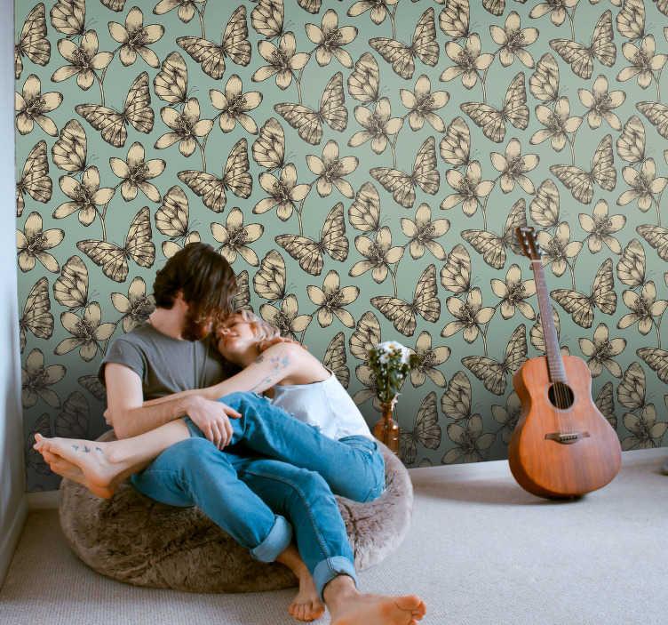 TenStickers. 客厅壁纸复古蝴蝶. 用buterfly壁纸装饰房间的创新方法。让您的房子变成一个您不想离开的神奇而舒适的地方。
