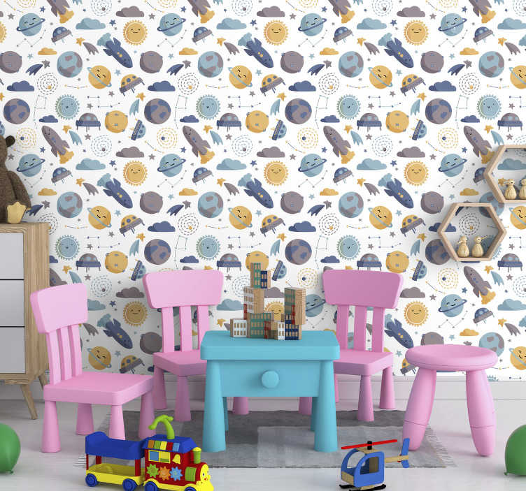 TenStickers. Space Kids Wallpaper. Most of the kids love everything related with the space theme, so we created this spetacular childrens room wallpaper that the will love!