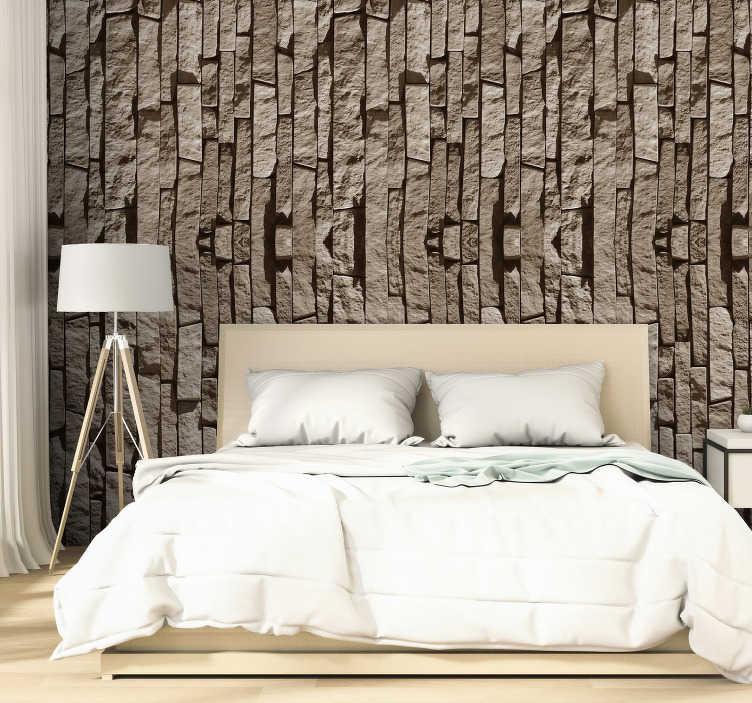 TenStickers. Beige Steine Tapete. Fantastische strukturierte tapete mit einem muster aus steinen, die vertikal durch die tapete angeordnet sind und sich perfekt für rustikale und moderne Aufkleberationen eignen.