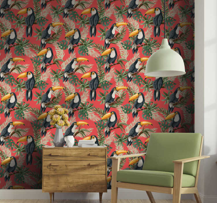 TenStickers. Toucans pattern Jungle Wallpaper. Fill your house with joy and life with this fantastic nature wallpaper composed by a beautiful pattern of toucans in a tree branch.