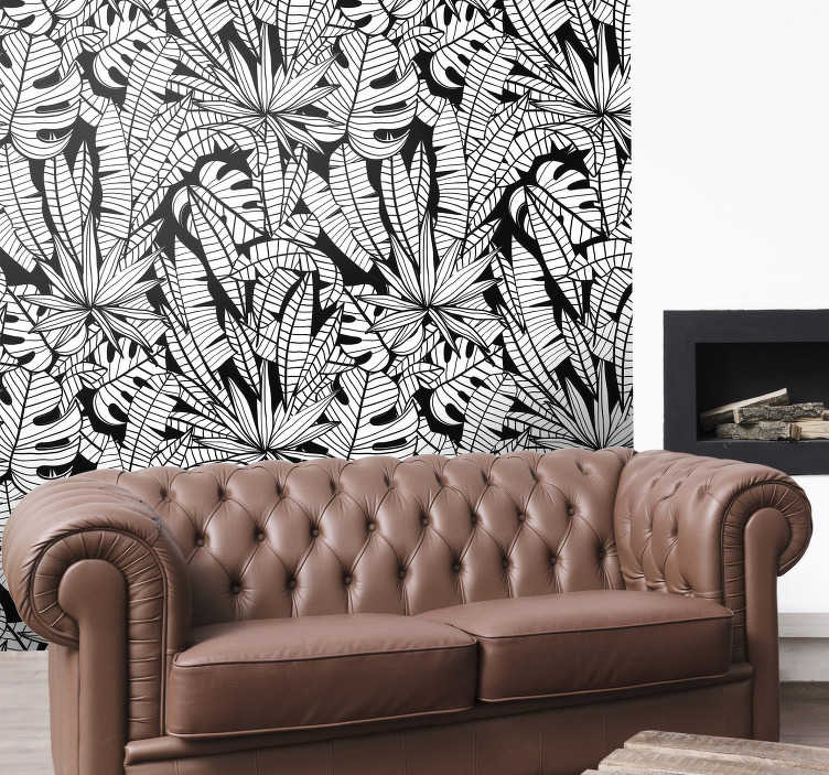 TenStickers. Tropical leaves Forest Wallpaper. Birng the freshness and the tranquility of the tropical sights to your house with this spetacular jungle wallpaper with a tropical leaves pattern.