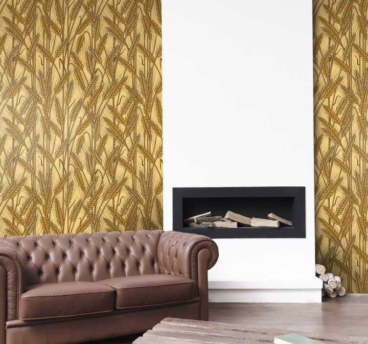 TenStickers. 复古乡村纹理的壁纸. 如果您正在寻找一种新的和不同的方式来个性化您的墙壁,这是您客厅的完美复古墙纸!