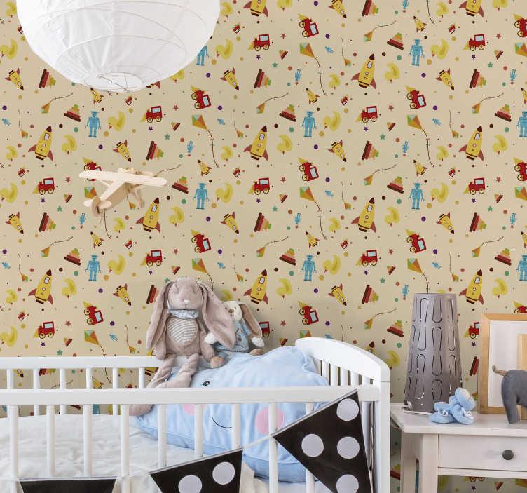 TenStickers. Vintage speelgoed kinderen behang. Baby op komst? Dus het is tijd om te beginnen met het inrichten van zijn / haar kamer! Dit kinderkamerbehang met een geweldig patroon samengesteld door speelgoed is perfect.