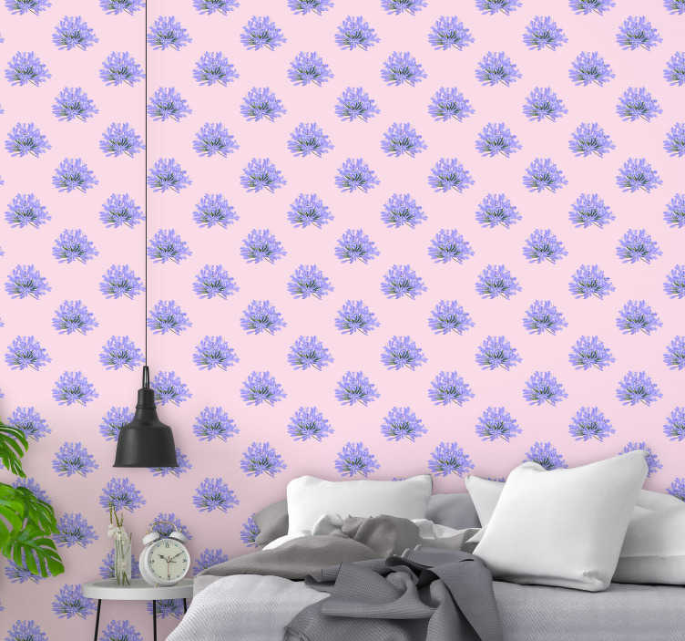 TenStickers. Violet flowers Nature Wallpaper. If you love floral patterns and mainly in shades of pink and purple, this flower wallpaper is perfect for you. High quality product.
