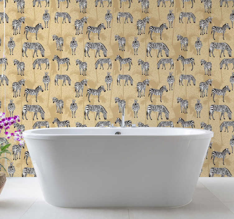 TenStickers. Bathroom wallpaper Zebras safari. High quality bathroom wallpaper is a great solution for this place. Let those fluffy zebras wander around your rooms! Order it now.