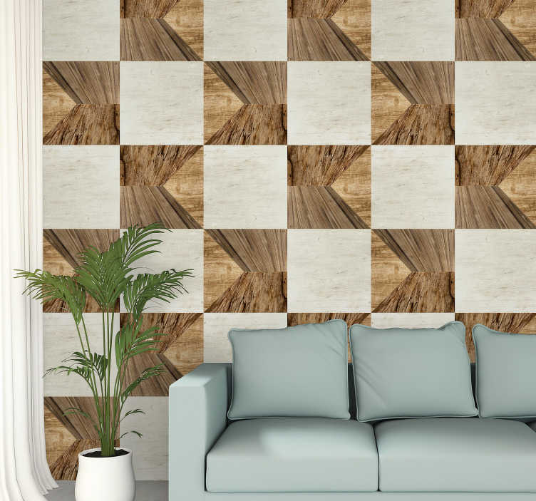 TenStickers. Alternating Panels Textured Wallpaper. Fantastic patterned wallpaper of squares of wood and cement textures arranged alternately. The perfect decoration for your dining room or living room.