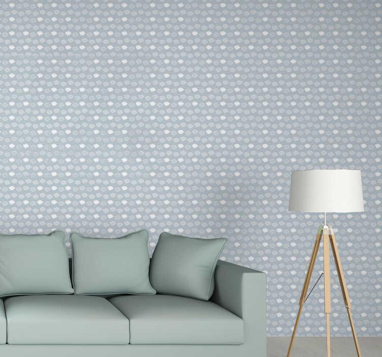 TenVinilo. Papel pared con textura de nubes azules. Hermoso papel para pared estampado compuesto de múltiples nubes grises y blancas sobre un fondo azul pastel para su sala de estar o habitación infantil