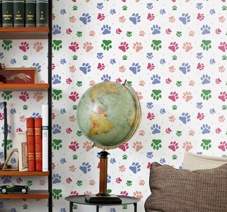 TenStickers. Colored Pets Living Room Wallpaper. If you love pets, then this animal wallpaper with a pattern of animal paws of various colors and sizes on a beige background is perfect for you!