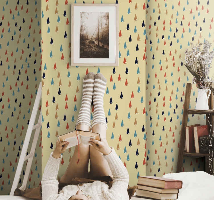 TenStickers. Colorful raindrops Kids Wallpaper. If you are looking for a colorful and beautiful way to decorate your children's room, then this children's room wallpaper  is perfect for you.