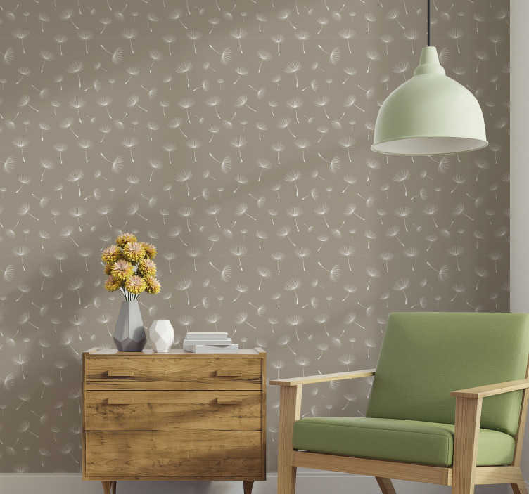 TenStickers. Dandelion Patchwork Nature Wallpaper. This floral wallpaper composed of several dandelions in the wind on a beautiful brown background is perfect to decorate your living room.