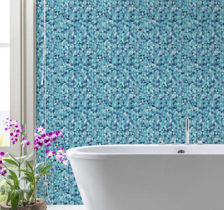 TenStickers. Geometric Blue abstract Pattern Wallpaper. This beautiful patterned wallpaper formed by multiple blue triangles of different colors is the perfect decoration for your bathroom.