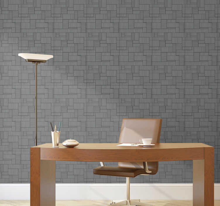 TenStickers. Geometric Construction Textured Wallpaper. This grey textured wallpaper perfect for your office, which will allow you to have an elegant and modern space without having to spend a lot of money.