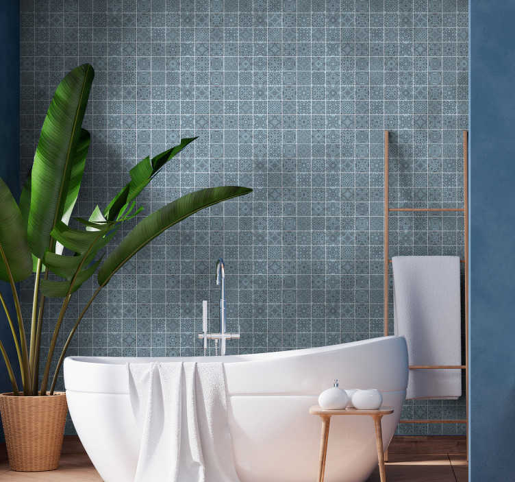 TenStickers. Greek Tiles Bathroom Wallpaper. Magnificent tile wallpaper in Greek style ideal for decorating the walls of your bathroom without having to spend a lot of money.