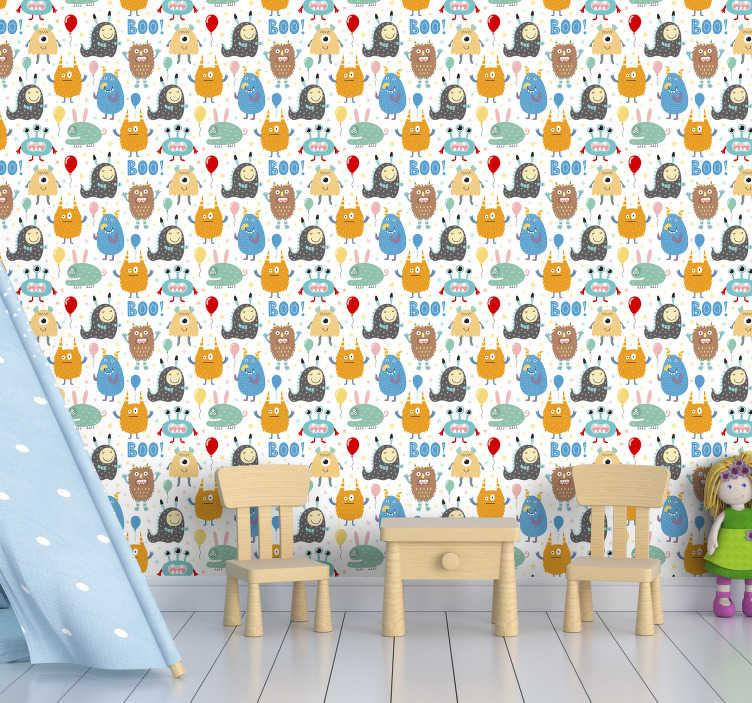 TenStickers. Bedroom Wallpaper Little Monsters. Redecorate your childrens bedroom in a quick way with this amazing wallpaper for kids with adorable and cute little monsters.