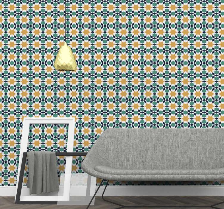 TenStickers. Behang Marokkaanse ornamenten ster. Bestel een sierbehang en neem afscheid van saaie muren. Met deze marokkaanse patronen in levendige kleuren heb je altijd een kamer vol zon.