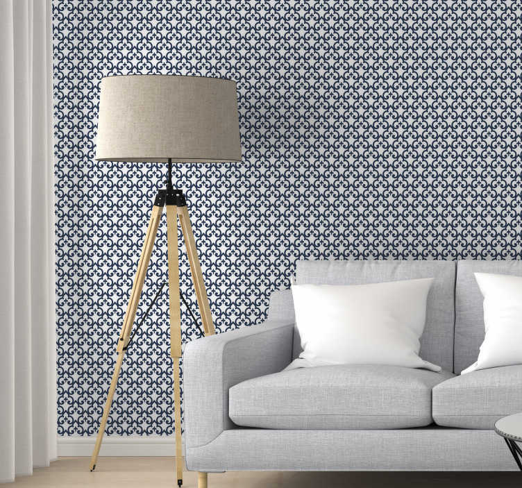 TenStickers. Wallpaper morrocan ornaments. The black morrocan style pattern on white background is a great ornamental wallpaper that will make your interiors look spectacular.