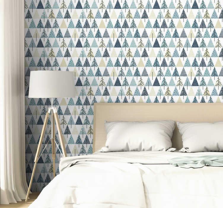 TenStickers. Carta da parati modello nordico. Ordina questa moderna carta da parati triangolare con il motivo nordico per ridecorare la tua camera da letto o il tuo soggiorno. Materiale di alta qualità!