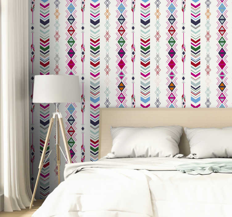 TenStickers. Bedroom Wallpaper Pastel Arrows. Let yourself create a room you were always dreaming of with those amazing colourful patterns that look like arrows. Made out of high quality material!