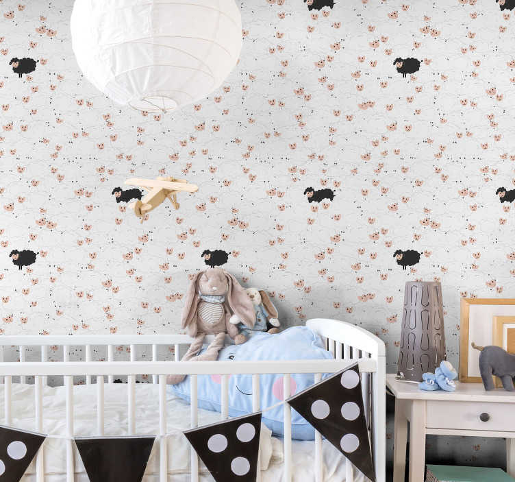 TenStickers. Animal Wallpaper patterned sheeps. Forget about boring walls and order those baby room wallpaper with the design of white and black sheeps that will help your little ones fall asleep.