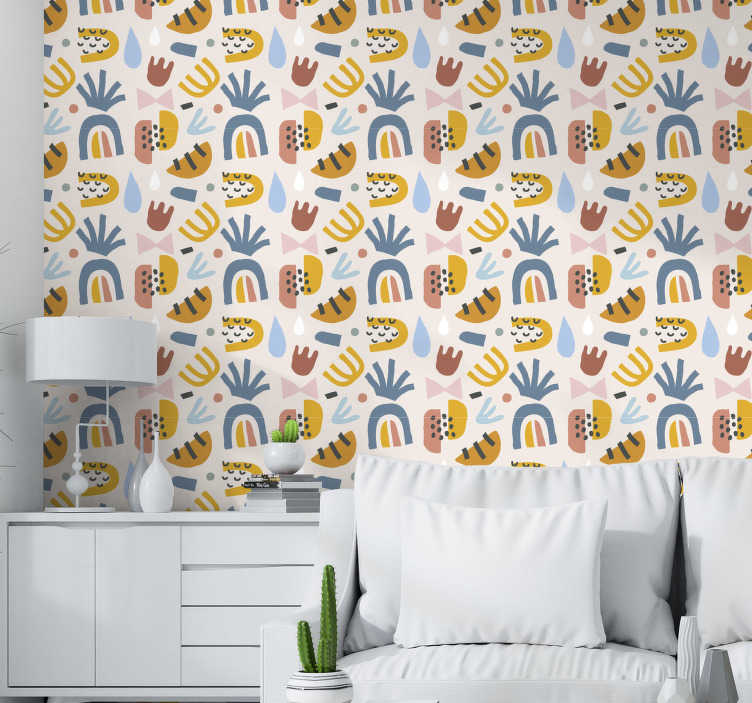 TenStickers. Modern Wallpaper summer drops. Living room wallpaper with the design full of colourful objects is a great choice for you! Made out of high quality materials!