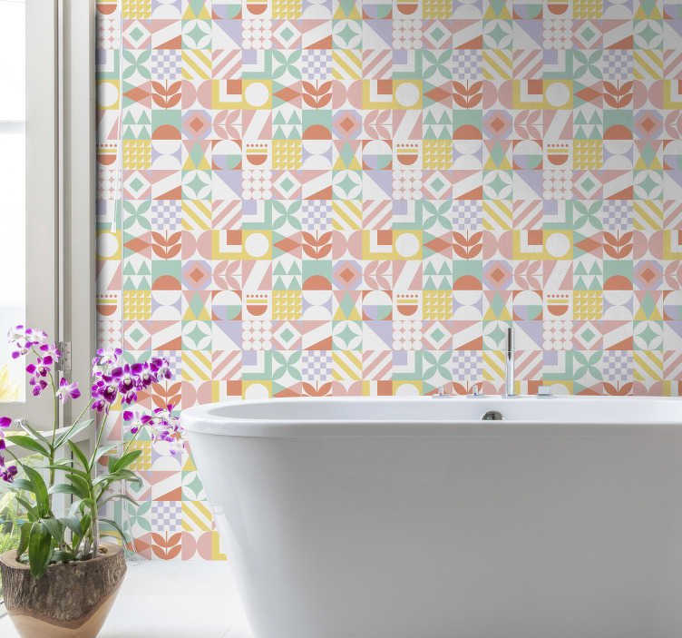 TenStickers. Tile Wallpaper Unusual Shapes. Forget about boring walls with this tile effect wallpaper that will easily and cheaply transform your bathroom into an amazing place.