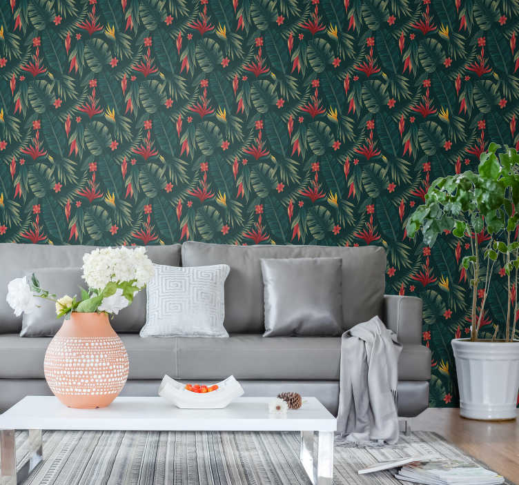 TenStickers. 열대 식물과 3d 벽지. 꿈의 집을 만드는 것이 결코 쉬운 일이 아닙니다. 정글 잎이 자연 벽지는 방을 화려하게 보일 것입니다!