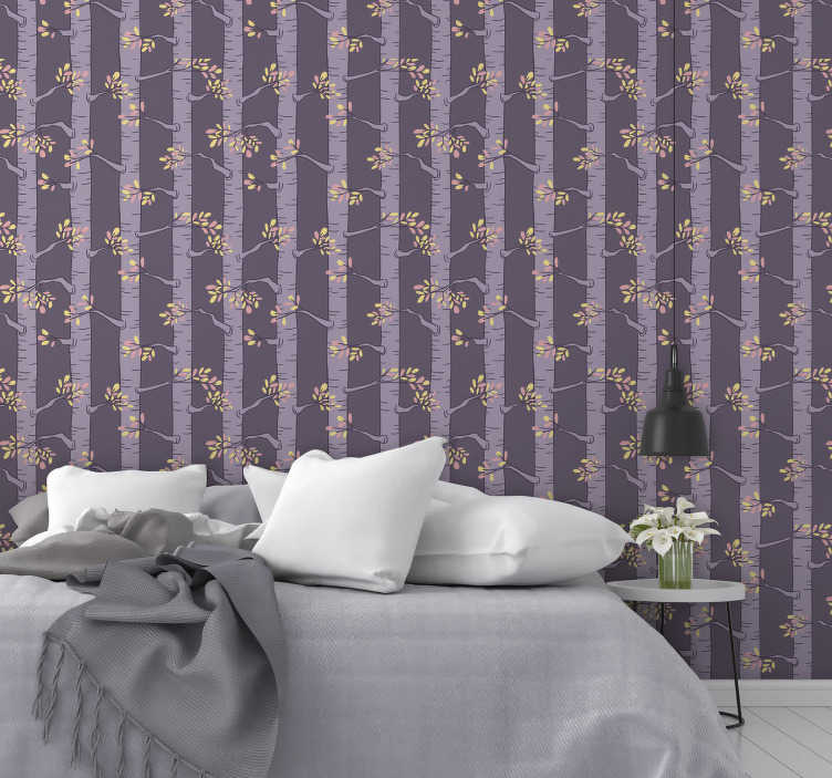 TenStickers. Nature wallpaper with nordic trees. Look at this nature wallpaper that shows magical forest full of purple trees with yellow and pink leaves. High quality of the material.