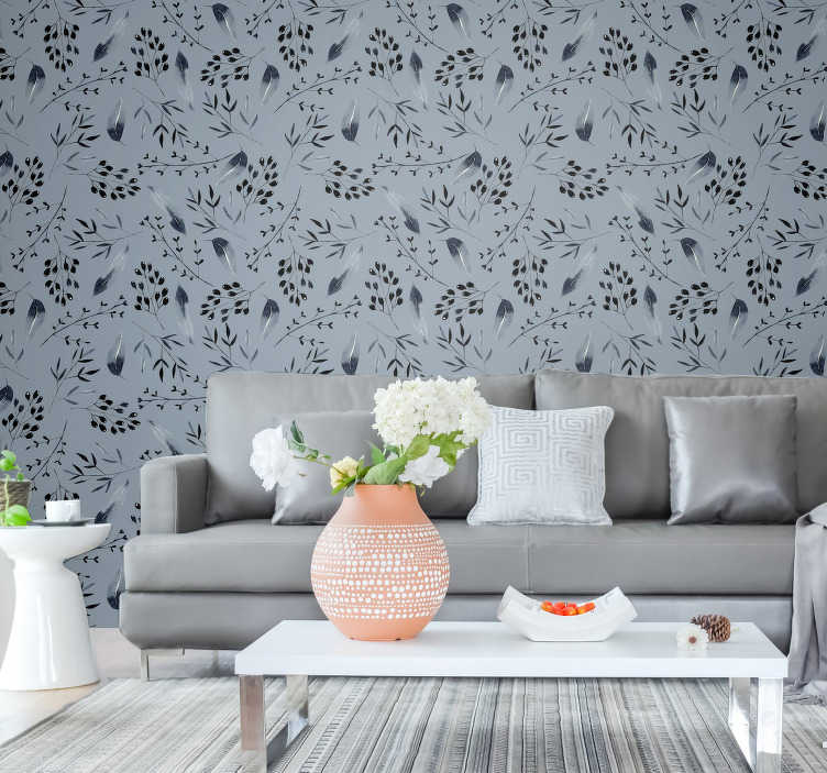 TenStickers. Nature wallpaper grey trees. Redecorate your living room with this grey wallpaper. Its design is not only classy and beautiful but this will totally transform your interiros.